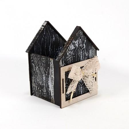 Дървена кашпа: Къщичка (Пролетна кашпа 3) - празна