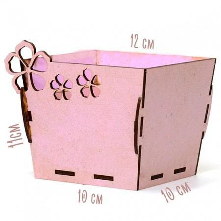 Квадратна дървена кашпа - Розова