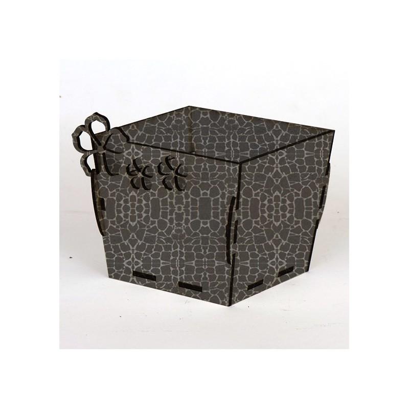 Квадратна дървена кашпа - Сив камък