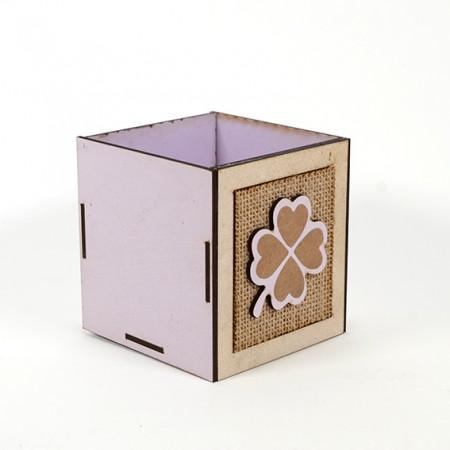 Дървена кашпа Барселона: Детелина (Пролетна кашпа) - празна