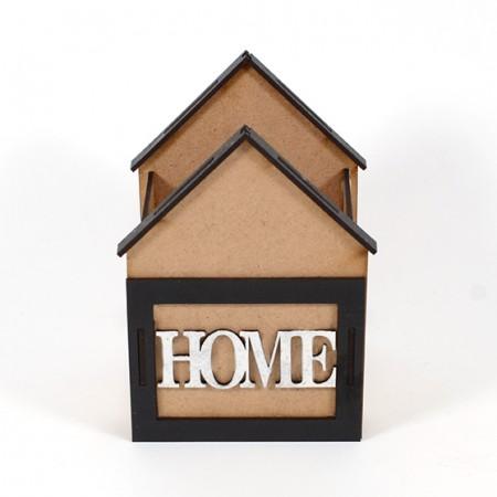 Дървена кашпа: Къщичка с надпис HOME (Пролетна кашпа) - празна