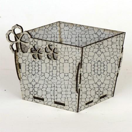 Квадратна дървена кашпа - Бял камък