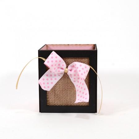 Дървена кашпа Барселона с розова панделка (Пролетна кашпа) - празна