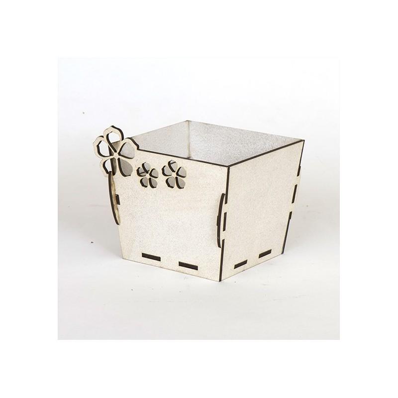 Квадратна дървена кашпа - Бяла