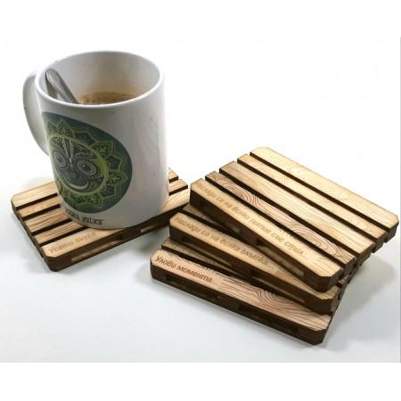 Дизайнерски подложки за чаши: Евро Палет - дървени подложки за чаши