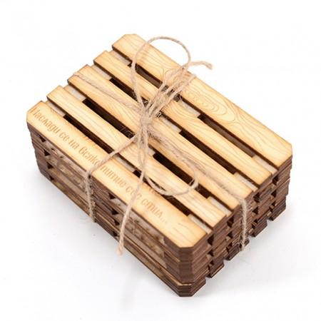 Дървени подложки за чаши - Евро Палет (натурален цвят)