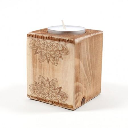 Дървен свещник Мандала (дизайн 1)