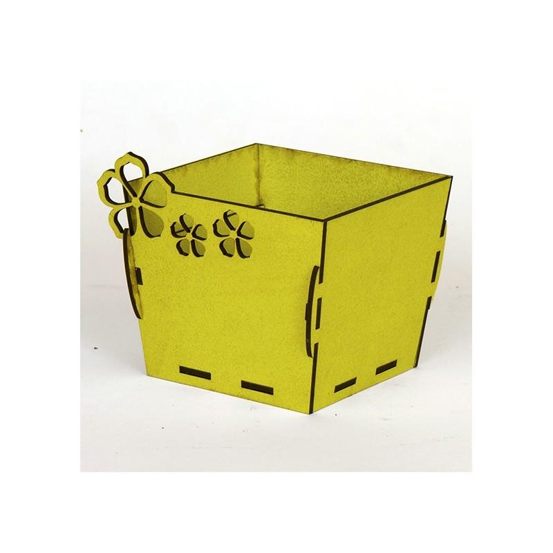 Квадратна дървена кашпа - Жълта