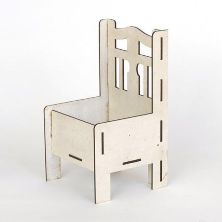 Дървена кашпа - бяла - тип стол