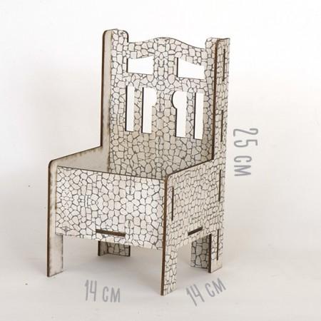 Дървена кашпа - Бял камък - тип стол