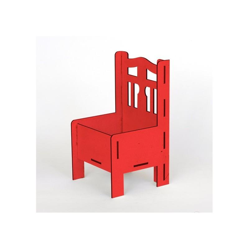 Дървена кашпа - червена - тип стол