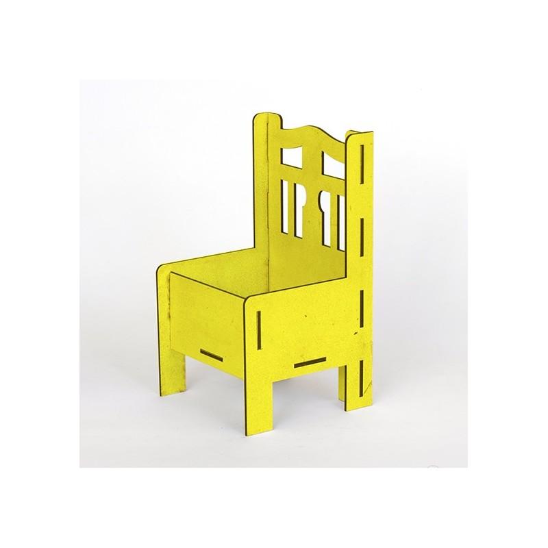 Дървена кашпа - жълта - тип стол