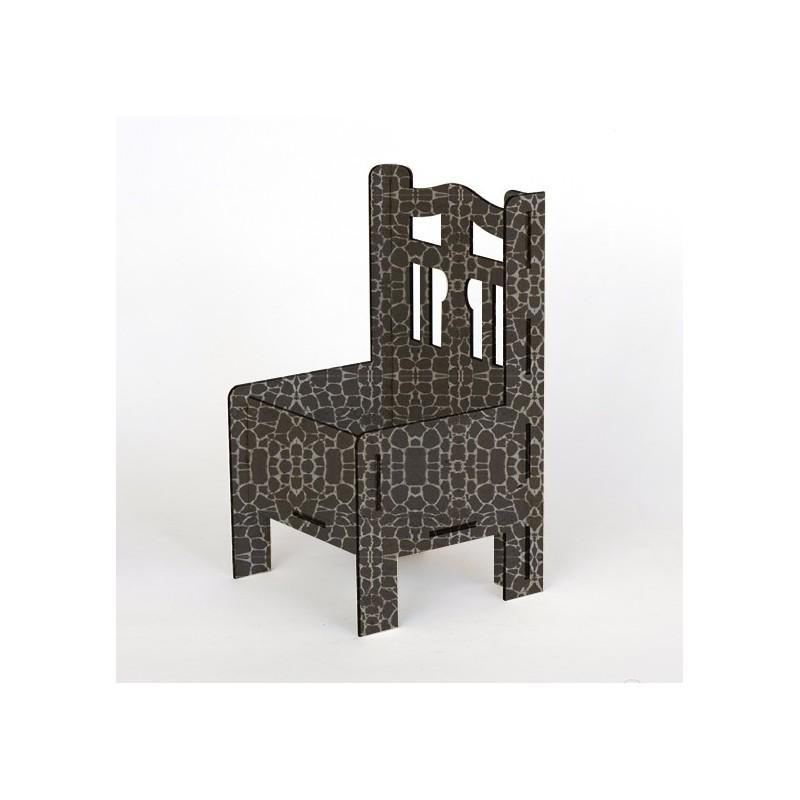 Дървена кашпа - Сив камък - тип стол
