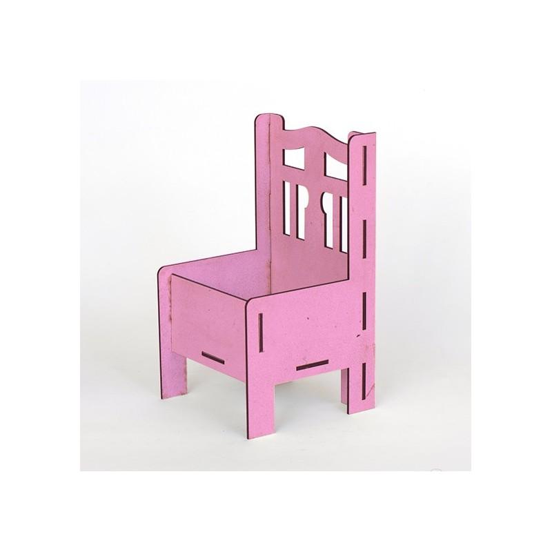 Дървена кашпа - розова - тип стол