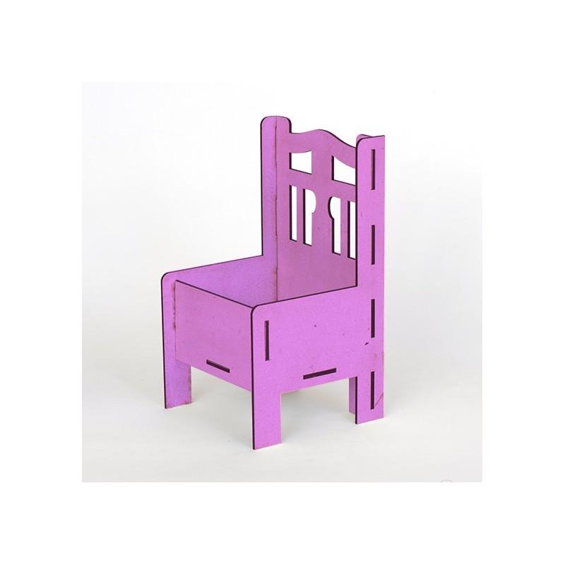 Дървена кашпа - лилава - тип стол