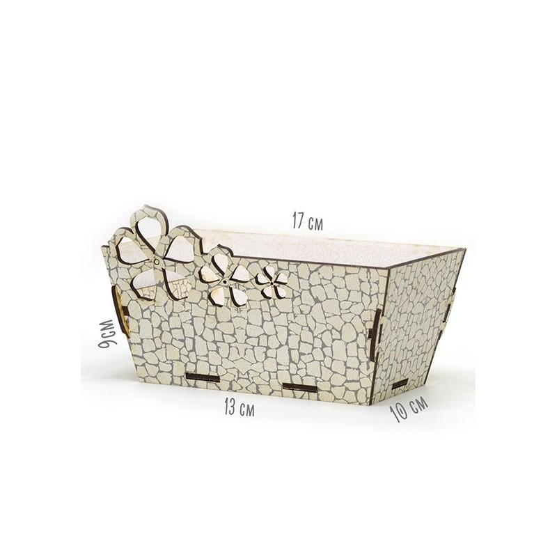 Правоъгълна дървена кашпа - Бял камък