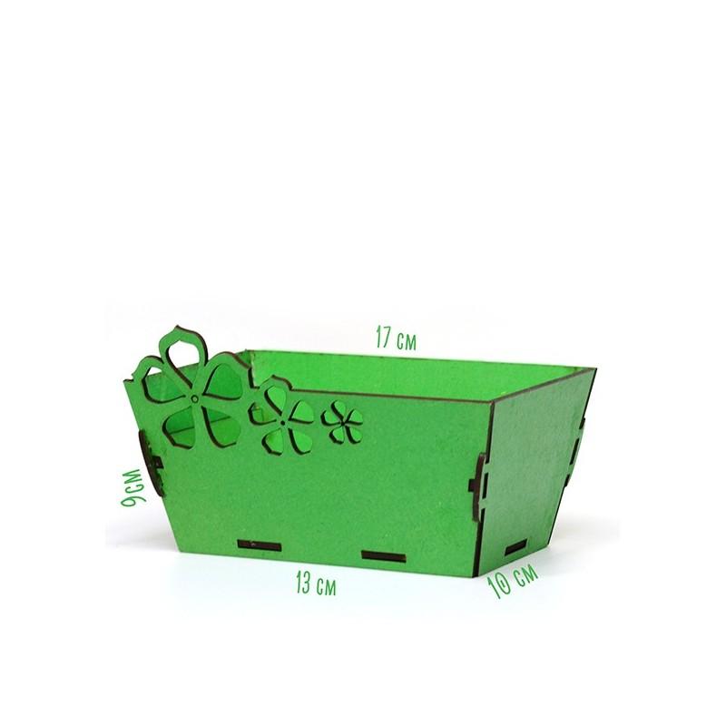 Правоъгълна дървена кашпа - зелена
