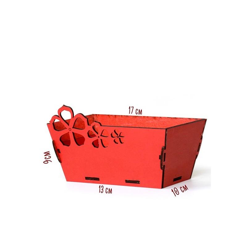 Правоъгълна дървена кашпа - червена