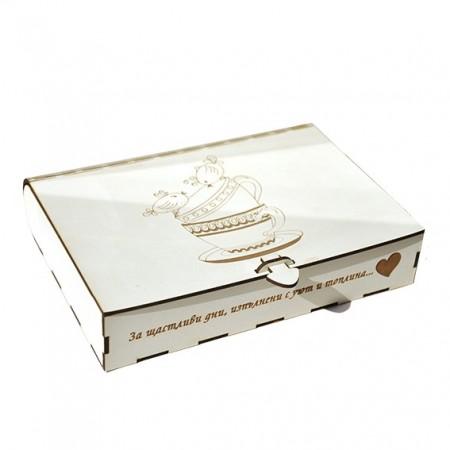 Кутия за чай: бяла 18х25х5 см