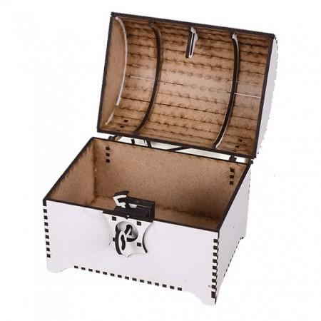 Сандъче за съкровища: 14х10х15, бяло - отворено