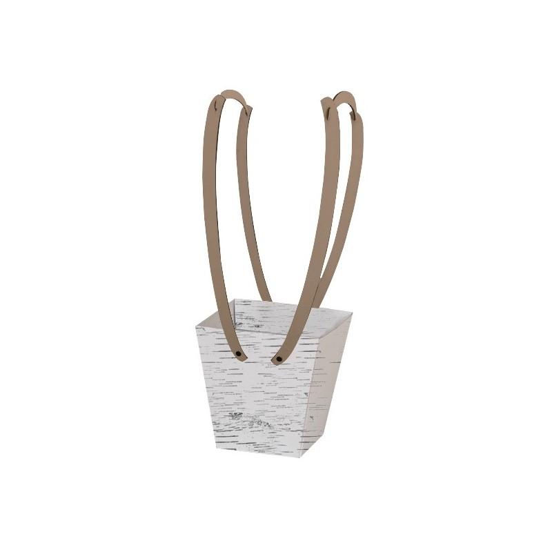 Картонена кошничка за цветя: Бреза, с дървени дръжки