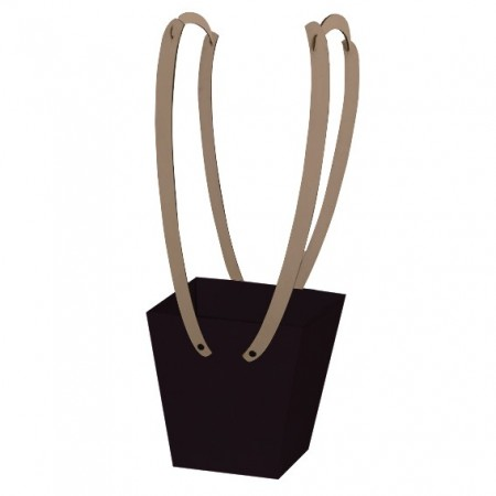 Картонена кошничка за цветя: Черна, с дървени дръжки - кафяви дръжки
