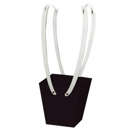 Картонена кошничка за цветя: Черна, с бели дървени дръжки