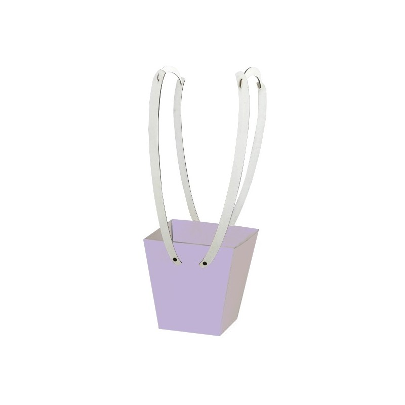 Картонена кошничка за цветя: Пастелнолилава с дървени дръжки