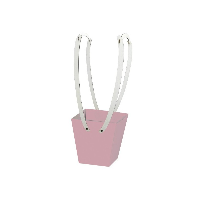 Картонена кошничка за цветя: Пастелнорозова, с дървени дръжки