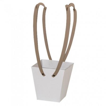 Картонена кошничка за цветя: Бяла с дървени дръжки