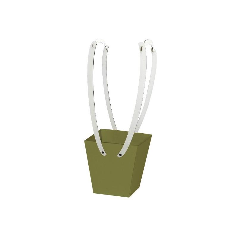 Картонена кошничка за цветя: Масленозелена с дървени дръжки