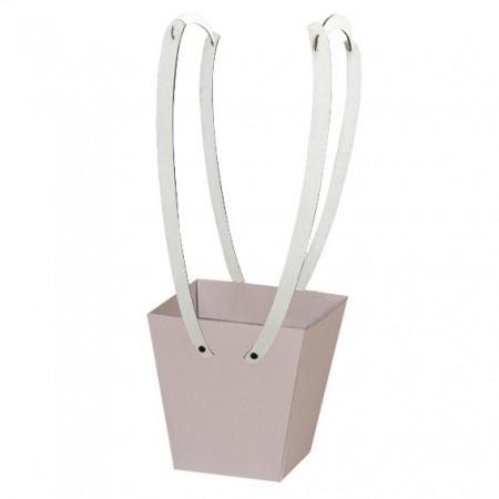 Картонена кошничка за цветя: Екрю с дървени дръжки
