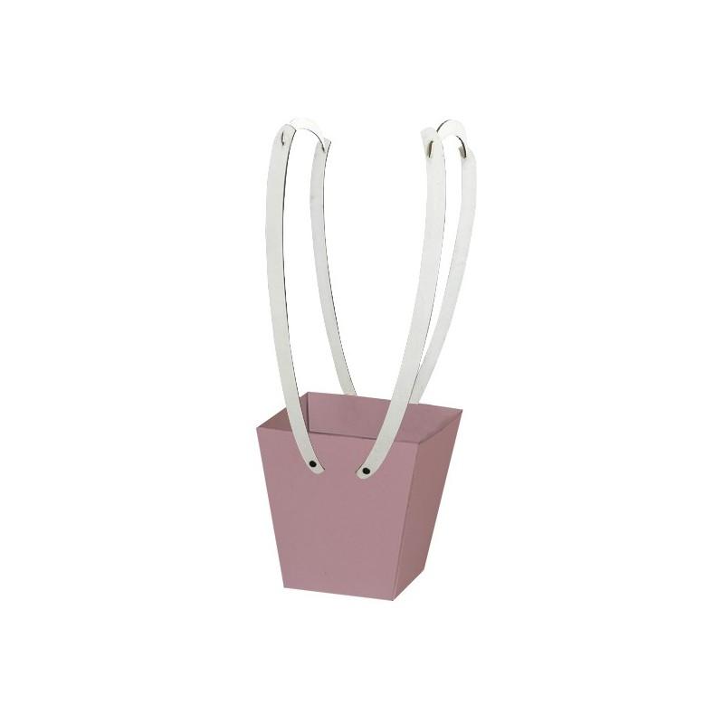 Картонена кошничка за цветя: Пепел от рози, с дървени дръжки