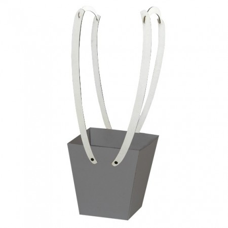Картонена кошничка за цветя: Сребро, с дървени дръжки