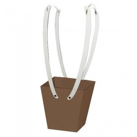 Картонена кошничка за цветя: Мед с дървени дръжки