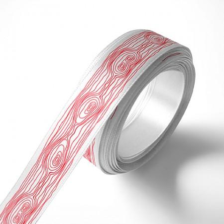 Панделка за цветя - Дърво - бяла, червен печат