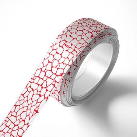 Панделка за цветя - Камък - бяла, червен печат