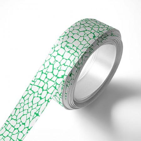 Панделка за цветя - Камък - бяла, зелен печат