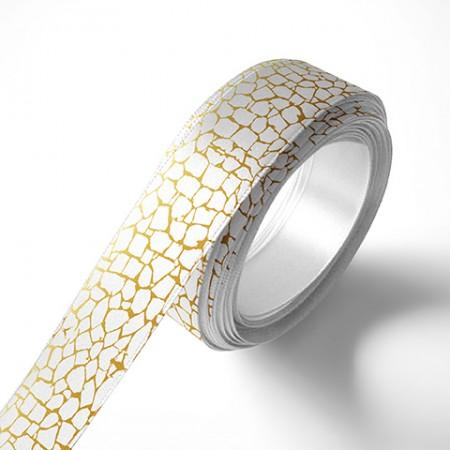 Панделка за цветя - Камък - бяла, златен печат