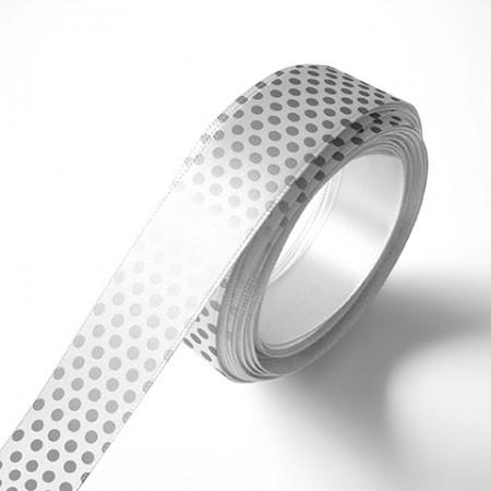 Панделка за цветя - Точки - бяла, сребърен печат