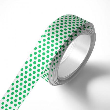 Панделка за цветя - Точки - бяла, зелен печат