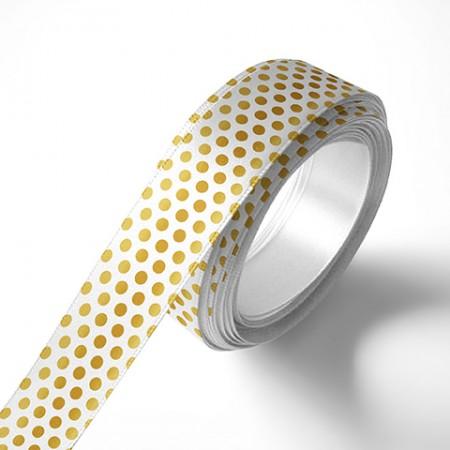 Панделка за цветя - Точки - бяла, златен печат