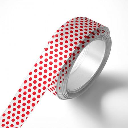 Панделка за цветя - Точки - бяла, червен печат