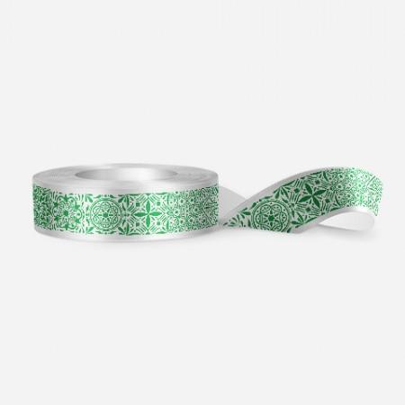 Винтидж панделка за цветя - бяла, зелен печат