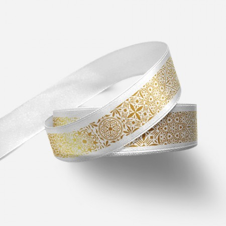 Винтидж панделка за цветя - бяла, златен печат