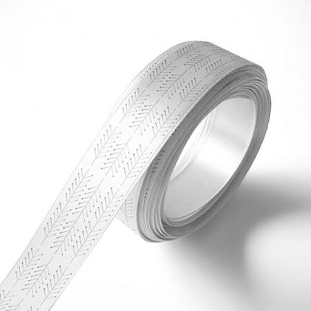 Панделка за подаръци - Клонки, бяла, сребърен печат