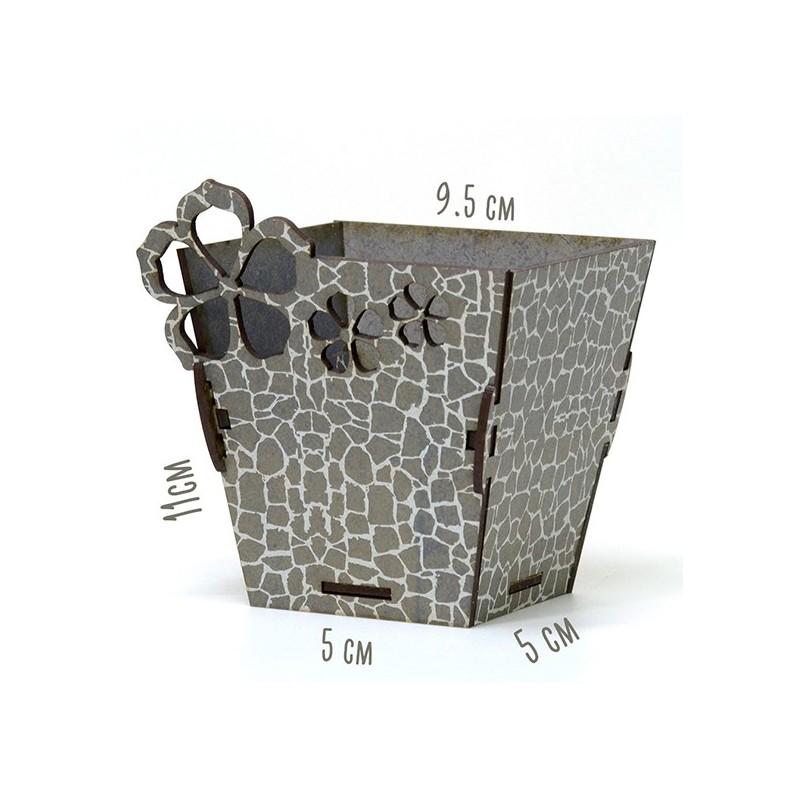 Дървена кашпа - малка сив камък