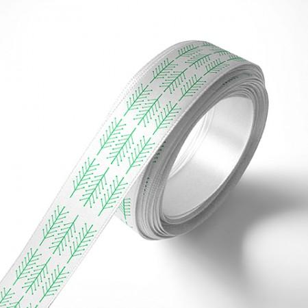 Панделка за подаръци - Клонки, бяла, зелен печат