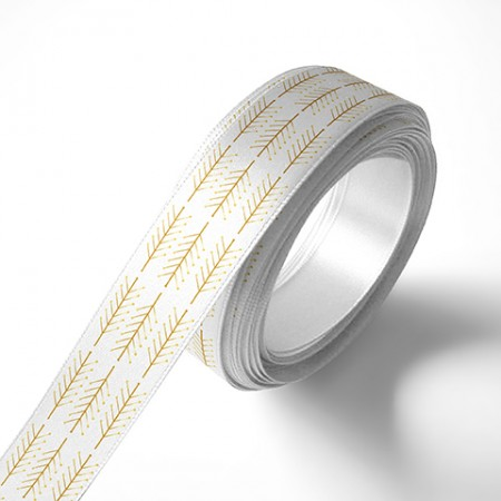 Панделка за подаръци - Клонки, бяла, златен печат