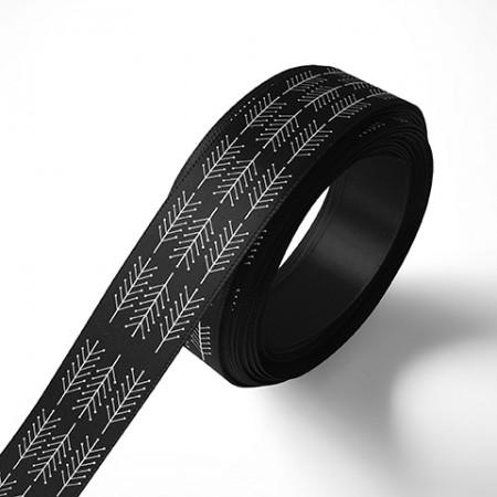 Панделка за подаръци - Клонки, черна, бял печат
